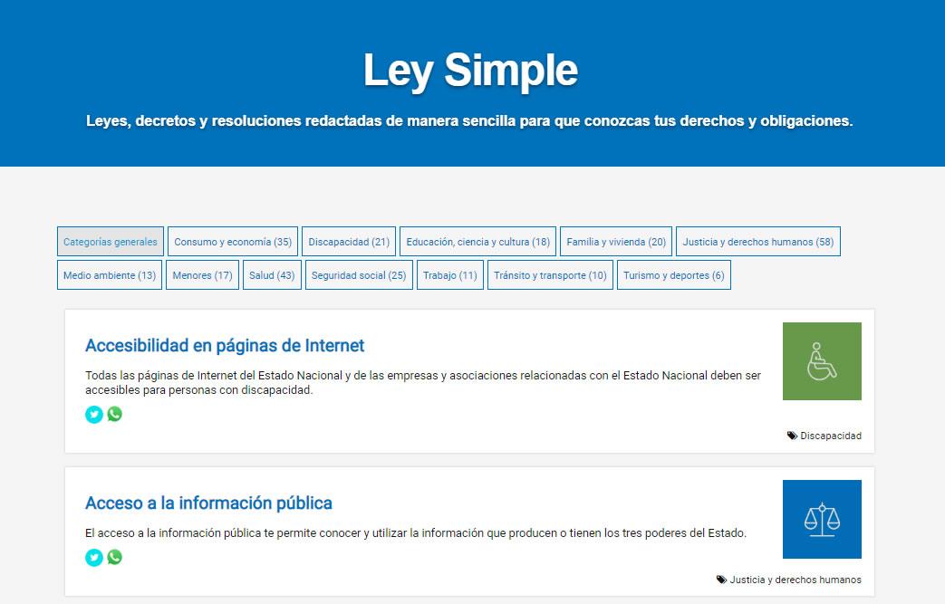 muestra de página de Ley Simple