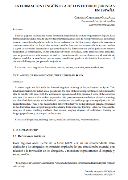 La Formación Lingüística de los futuros juristas en España