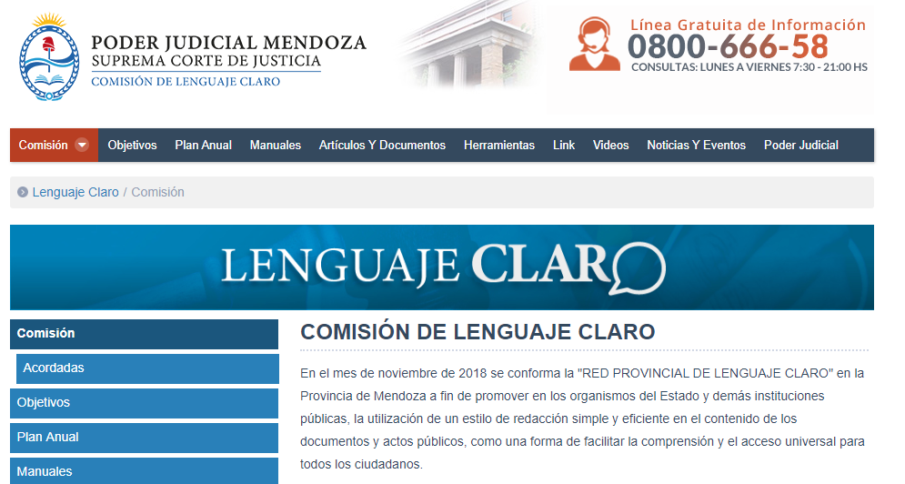 Comisión de Lenguaje Claro del Poder Judicial de Mendoza