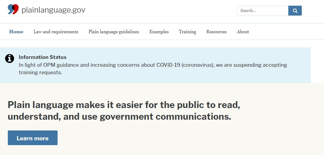 Plain Language, Gobierno de Estados Unidos